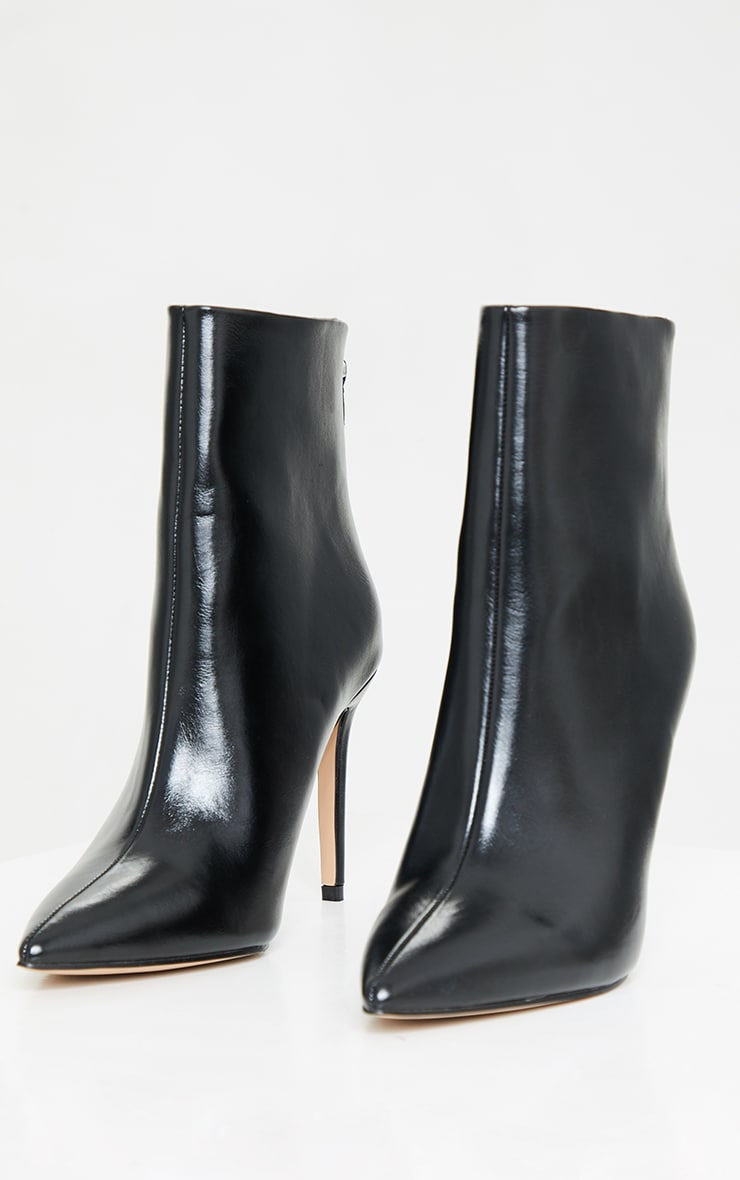 Black Wide Fit Mid Heel Pointed Ankle Boots 3