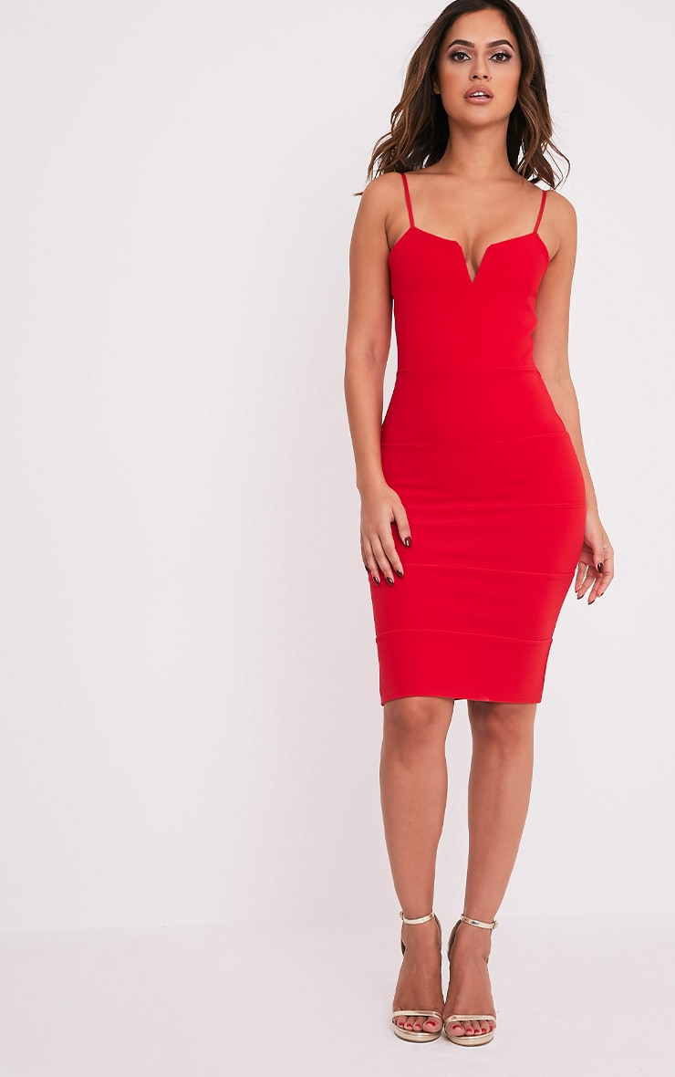 Ebony Red Strappy Bandage Dress 1