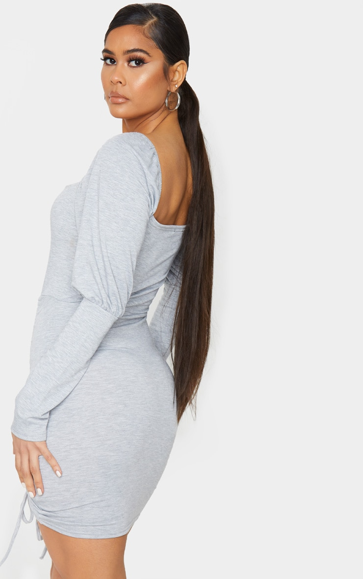 Grey Sweat Puff Sleeve Ruched Bodycon Dress 2