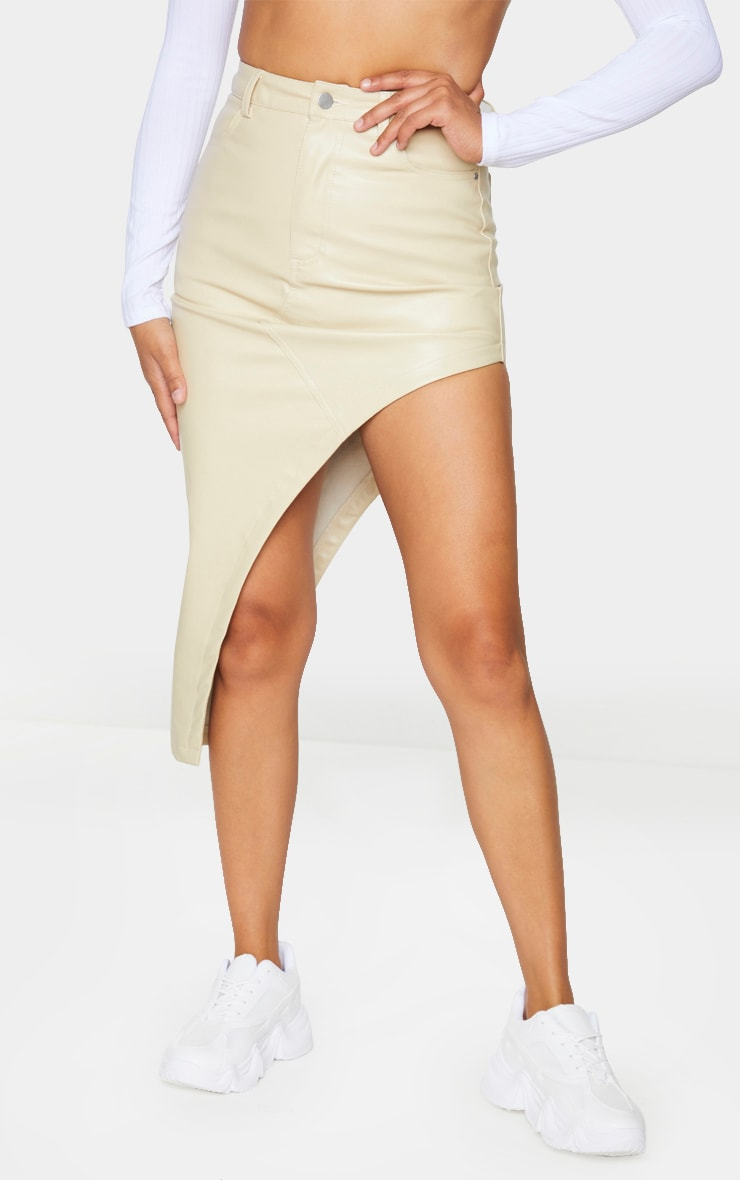 Cream Faux Leather Asymmetric Midi Skirt 2