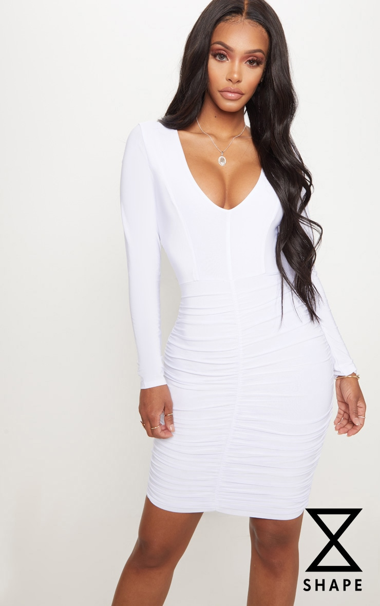 Shape White Ruched Slinky Mini Dress