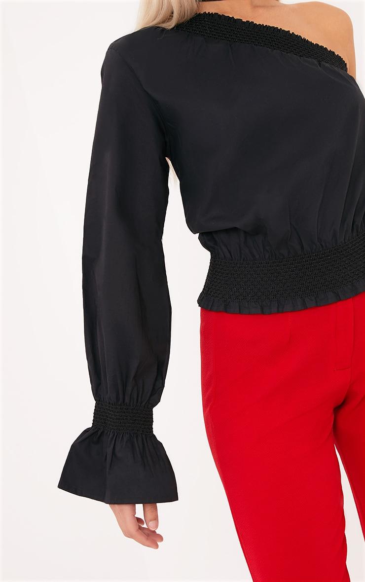 Macey Black One Shoulder Smocked Cotton Blouse 5