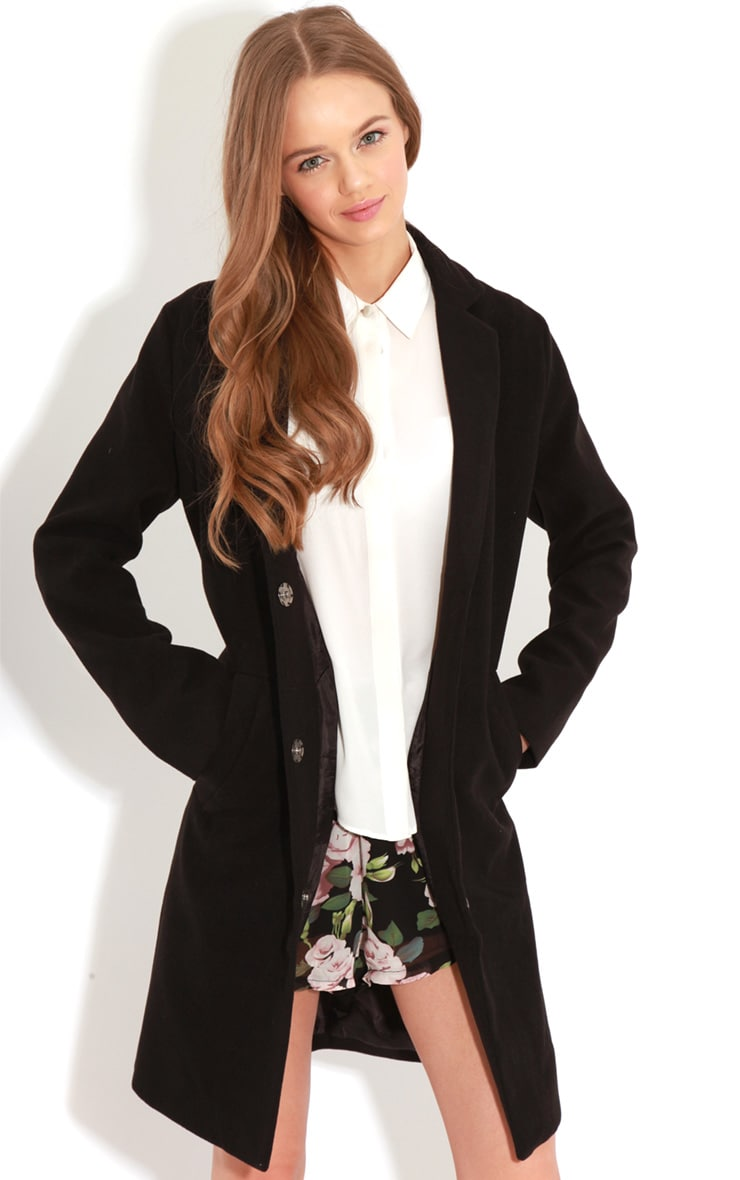 Avril Black Longline Boyfriend Coat  4