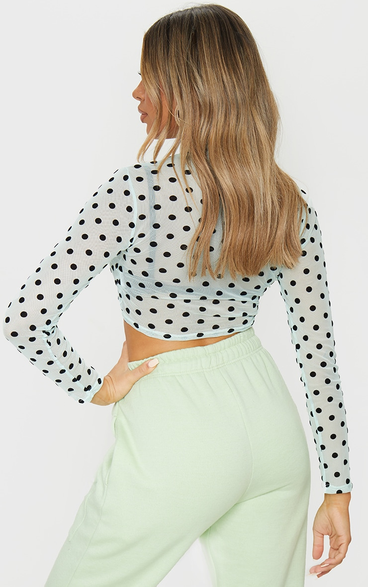 Mint Spot Mesh High Neck Crop Top 2