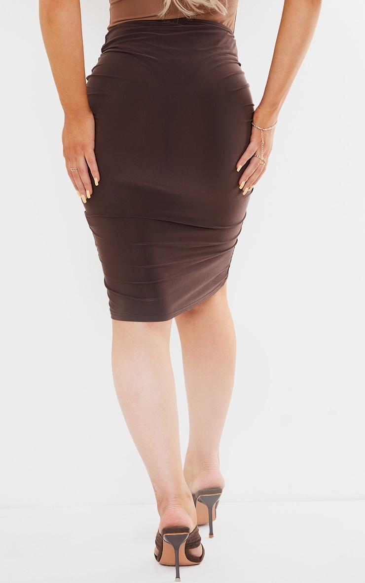 Chocolate Slinky V Front Ruched Midi Skirt 3