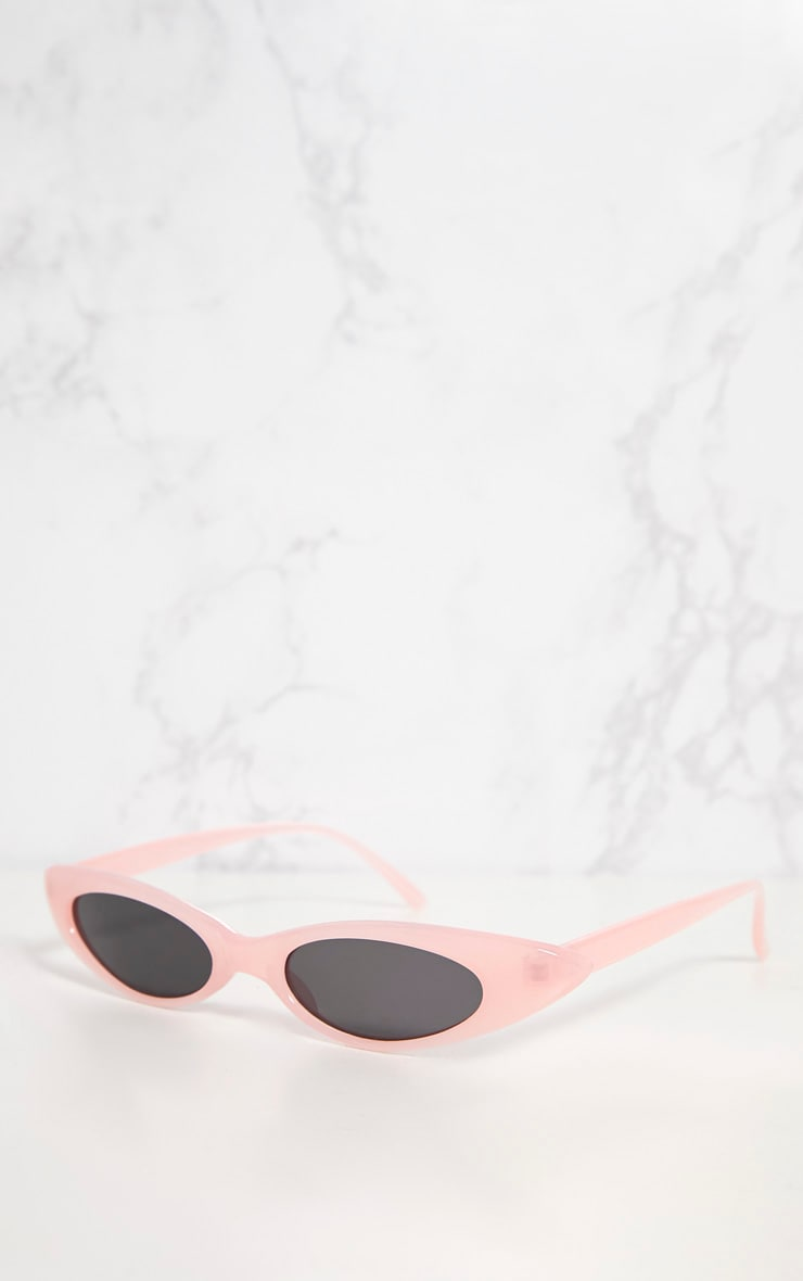 Pink Acrylic Matte Thin Retro Sunglasses 3