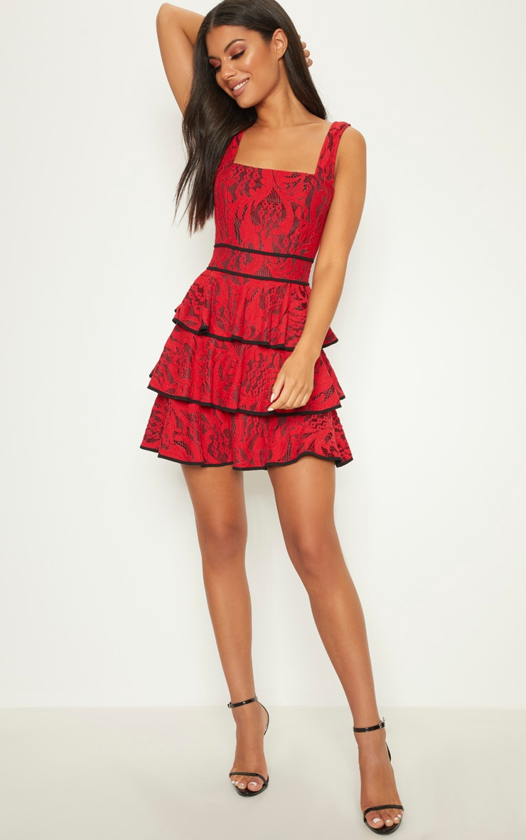 Red Lace Square Neck Contrast Trim Tiered Skater Dress 1