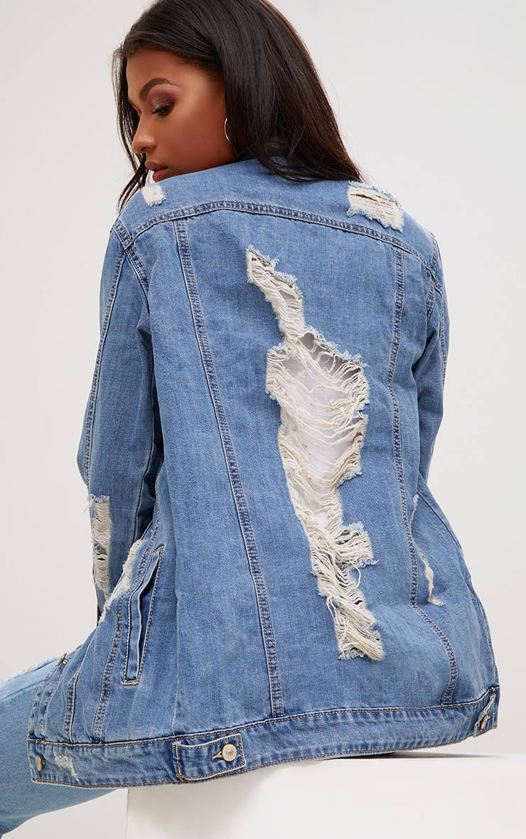 Mid Wash Distressed Long Line Denim Jacket 2