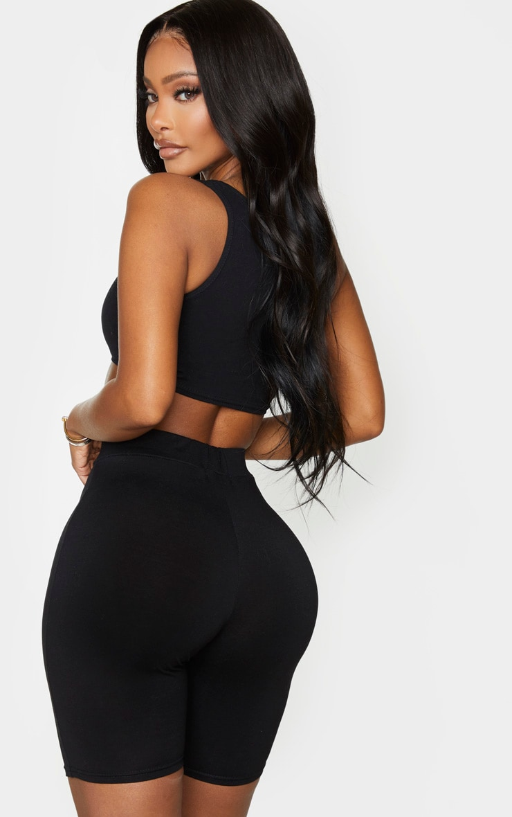 Shape Black Cotton V Neck Crop Top 3