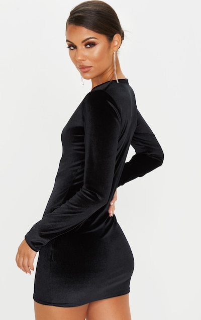 Black Velvet Long Sleeve Bodycon Dress