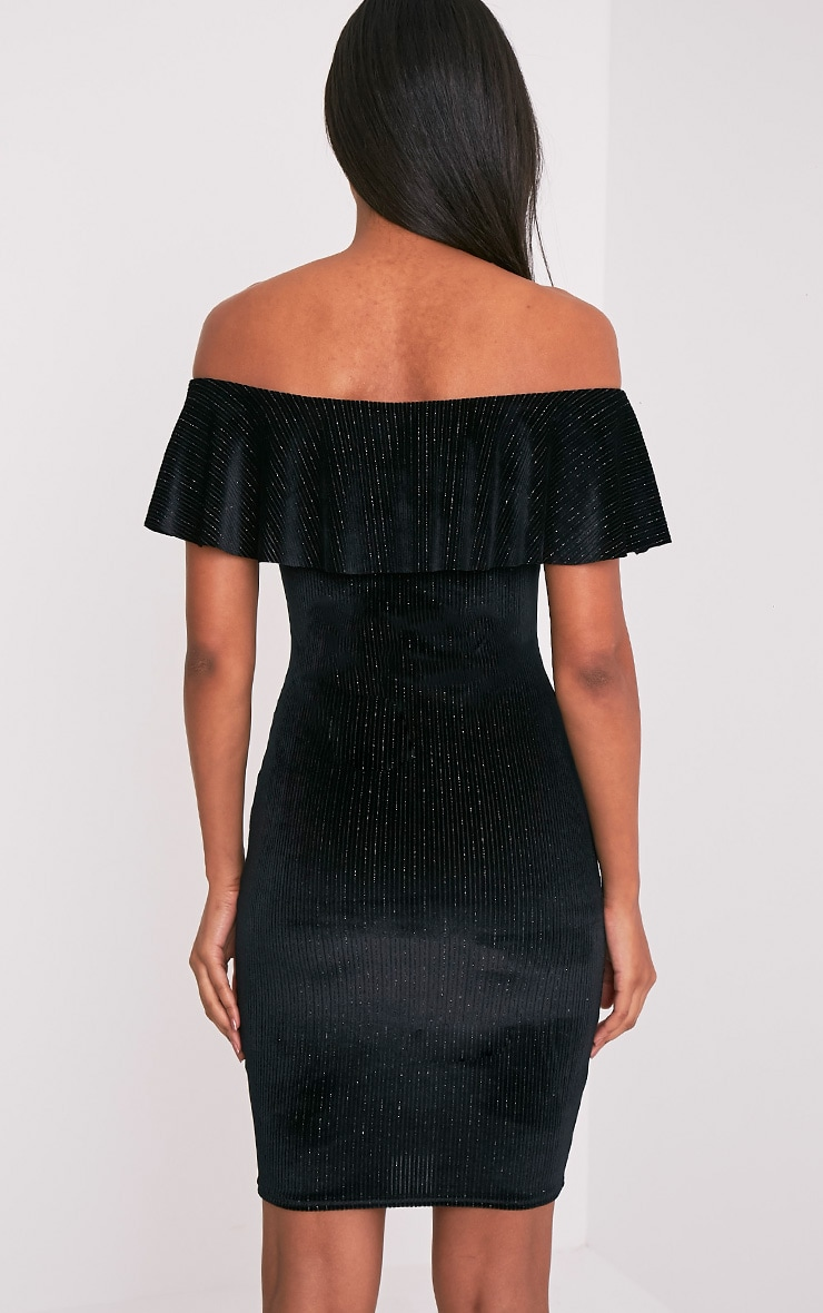 Jardia Black Velvet Frill Bardot Midi Dress 2