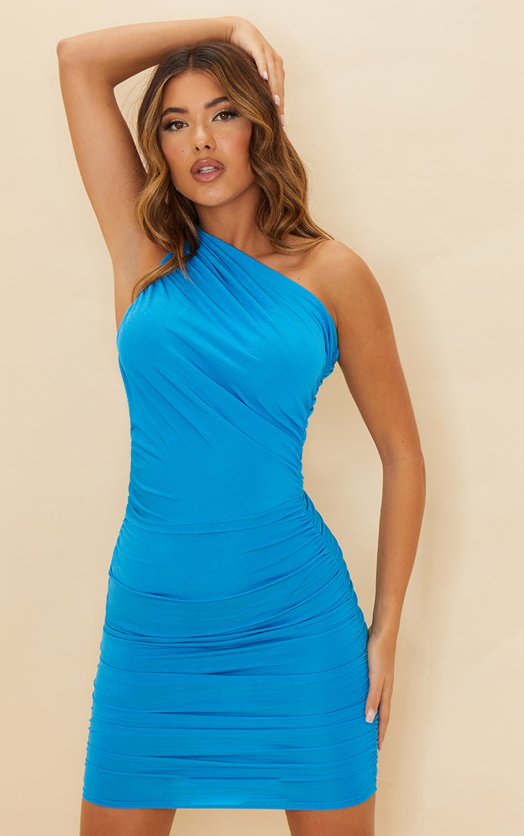 Blue Slinky Ruched One Shoulder Bodycon Dress 3