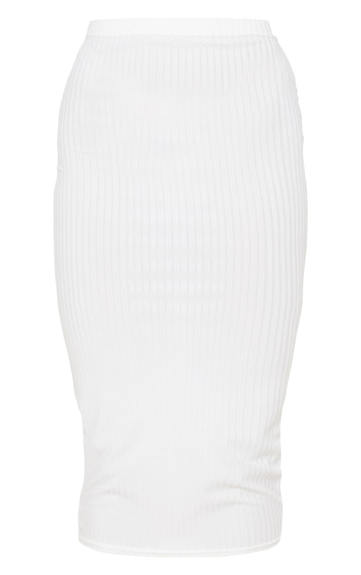 Cream Ribbed High Waist Midi Skirt 3