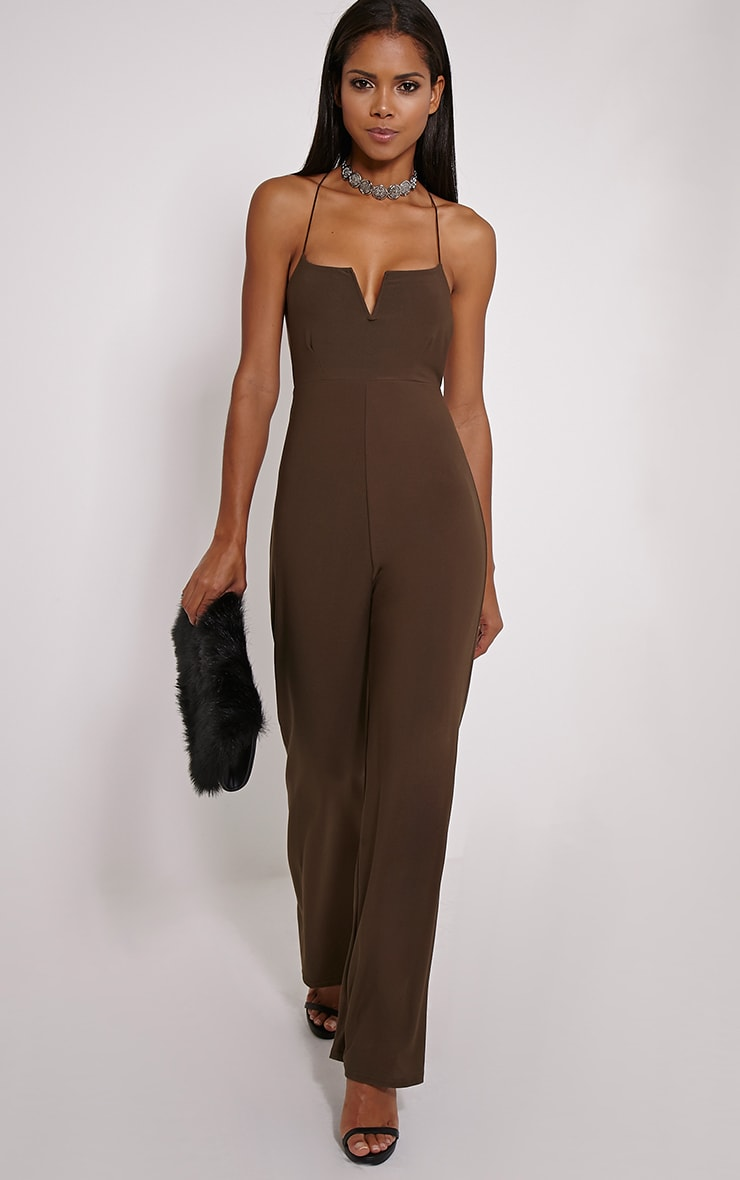 Delara Khaki Cross Back Jumpsuit 1