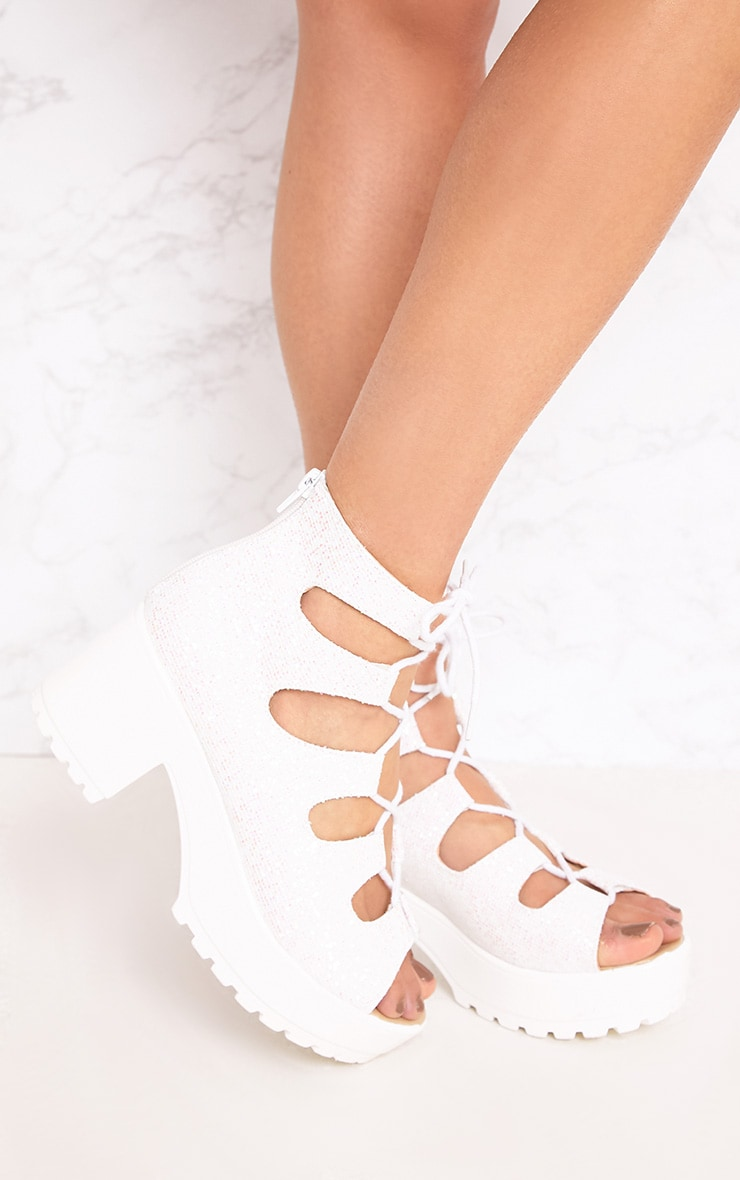 Caprice White Metallic Lace Up Sandals 3
