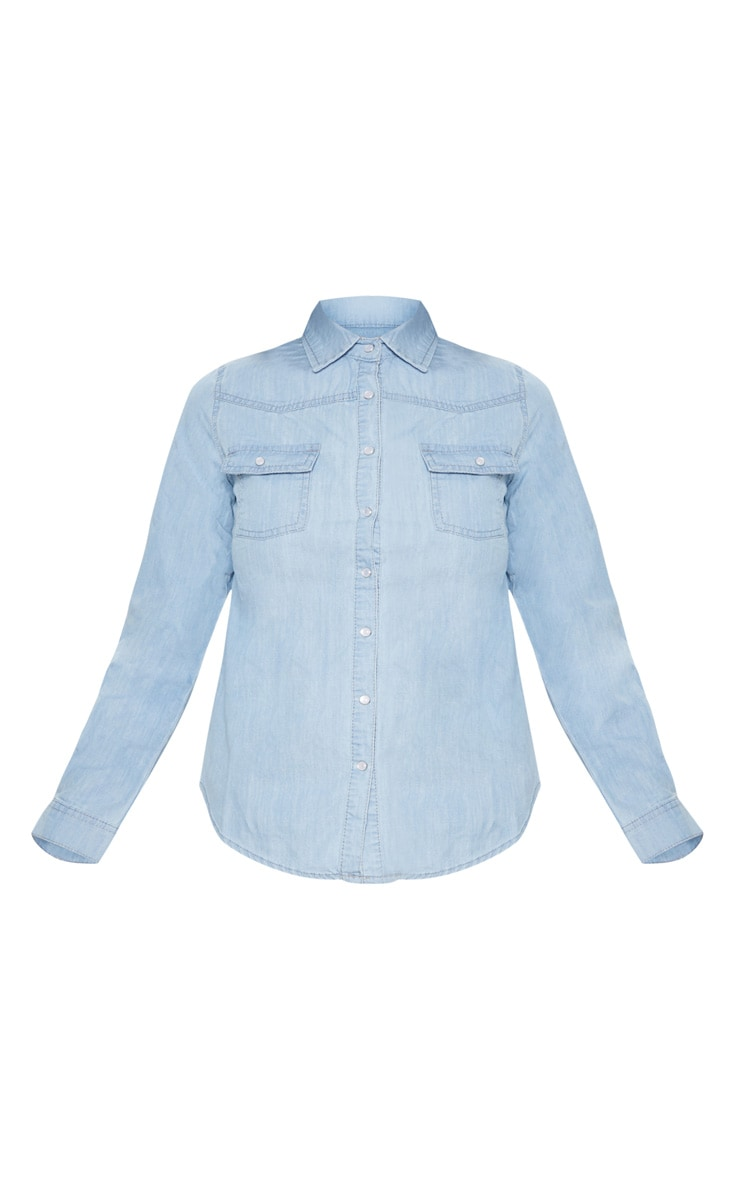 Light Wash Western Cropped Shirt  3