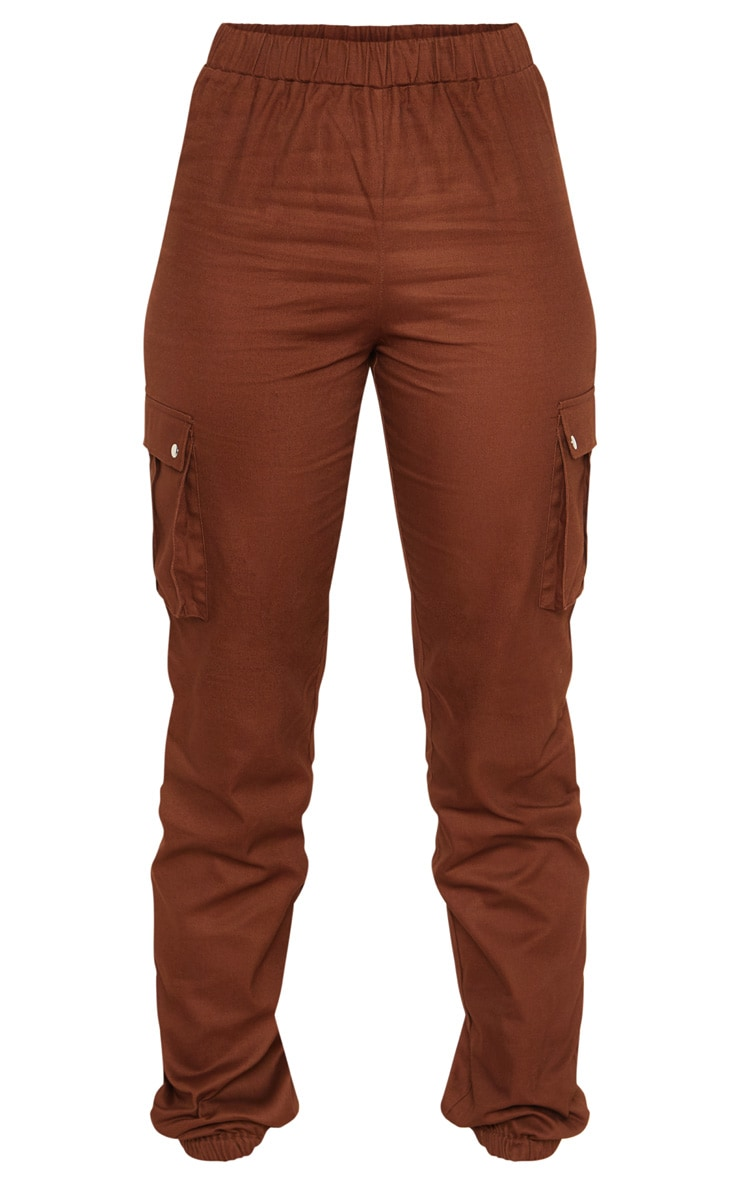 Tall Chocolate Brown Pocket Detail Cargo Pants 3