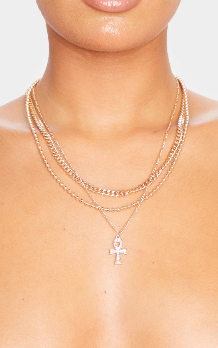 Gold Ank Multi Layering Necklace 2