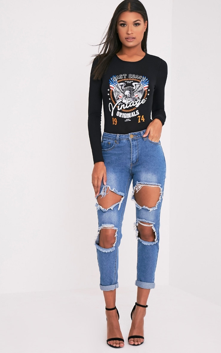 Rebel Mid Wash Open Knee and Bum Rip Mid Rise Jean 1