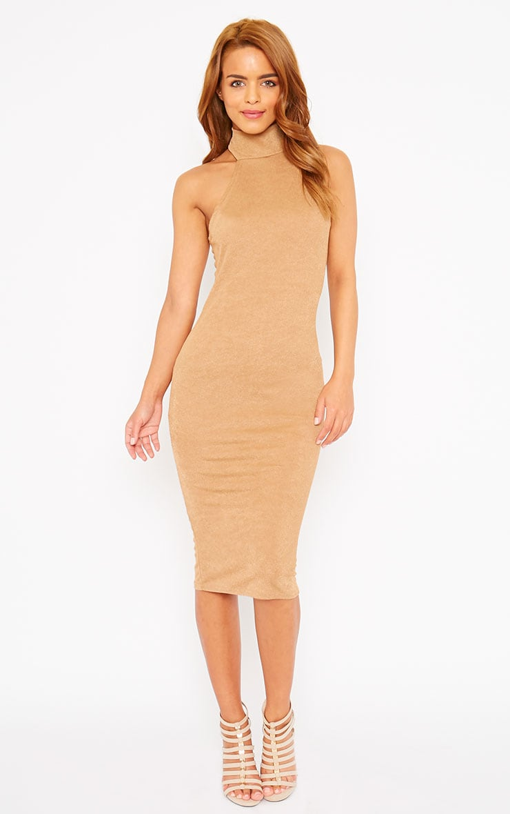 Sara Camel Polo Neck Midi Dress 1