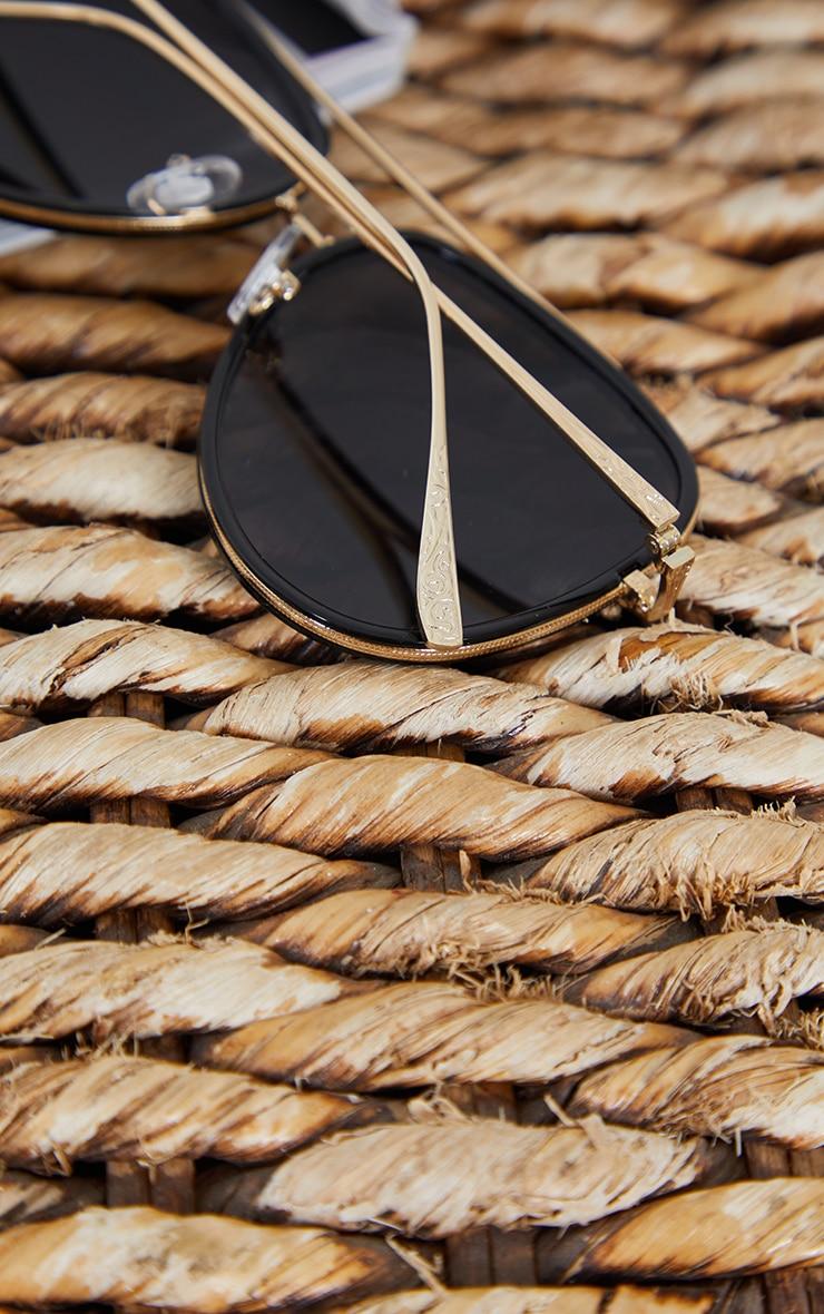 Black Oversized Gold Detail Aviator Sunglasses 3