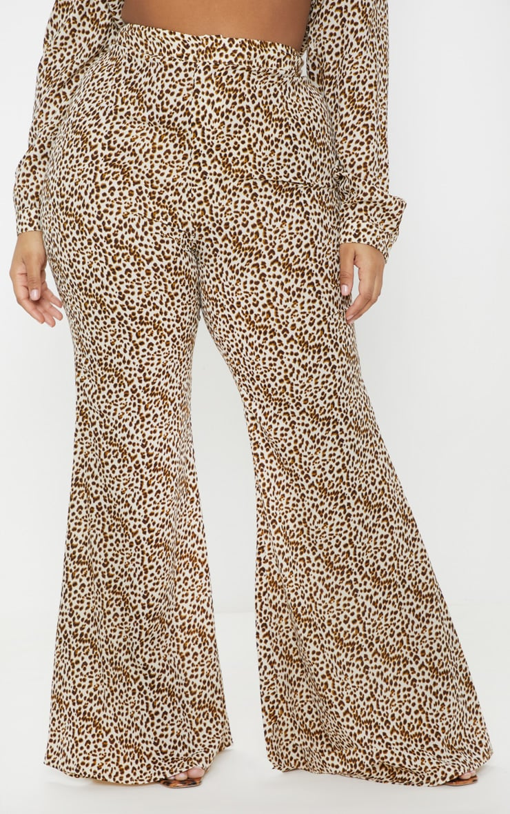 Plus Cream Leopard Print Satin High Waisted Flare Leg Trouser  2