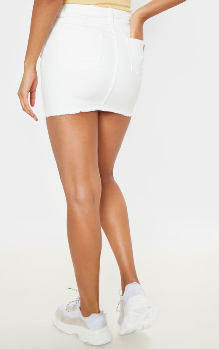 White Distressed Denim Stretch Skirt 4