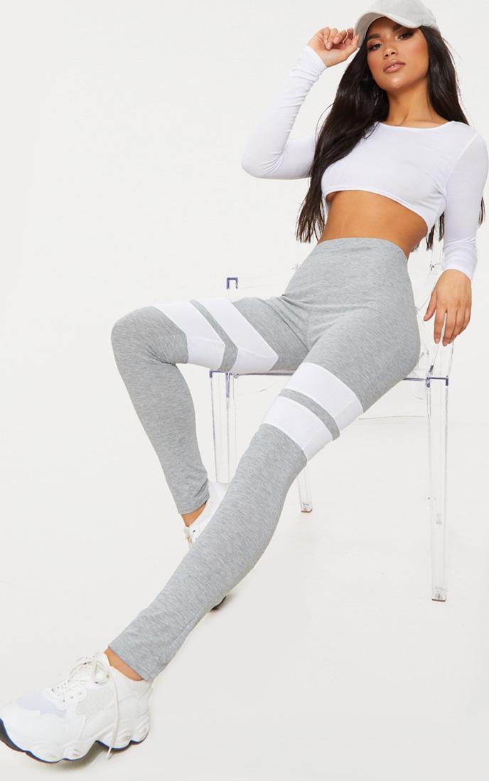 Grey Marl Double Track Stripe Legging  1