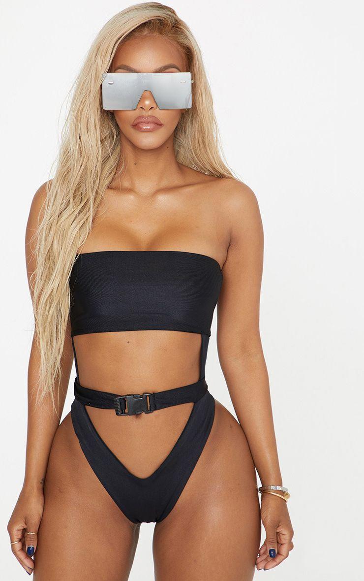 Shape Black Buckle Waist Cut Out Swimsuit 1
