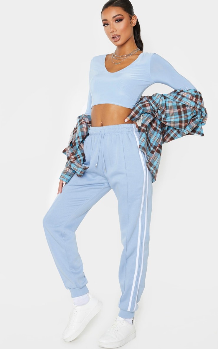 Blue Double Side Stripe Track Pants 1
