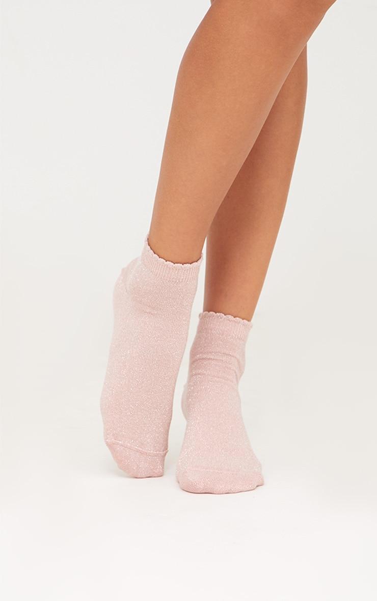 Baby Pink Glitter Lurex Frill Ankle Socks 2