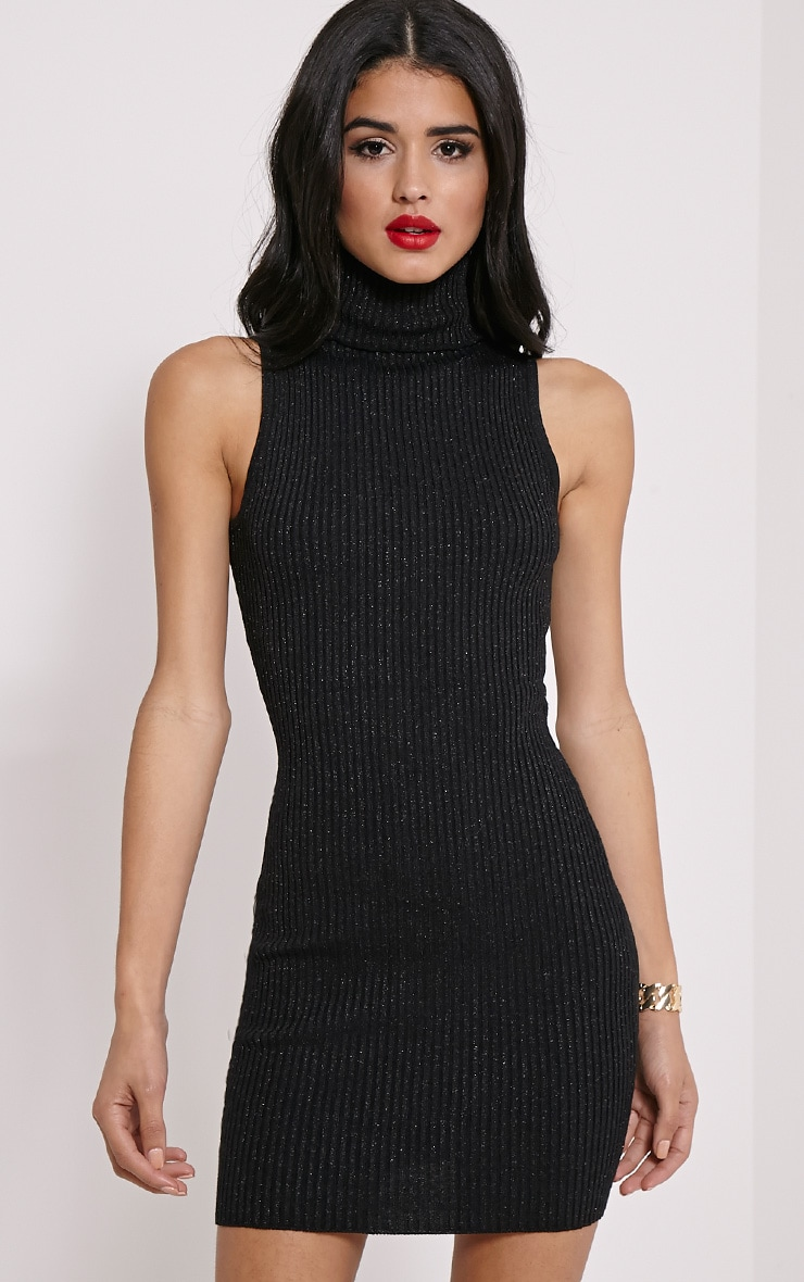 Tanya Black High Neck Metallic Knitted Dress 1
