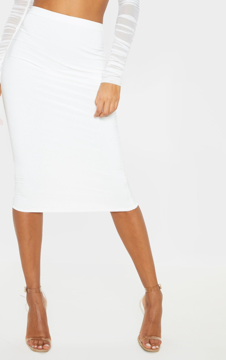 Aidy White Slinky Long Line Midi Skirt  6