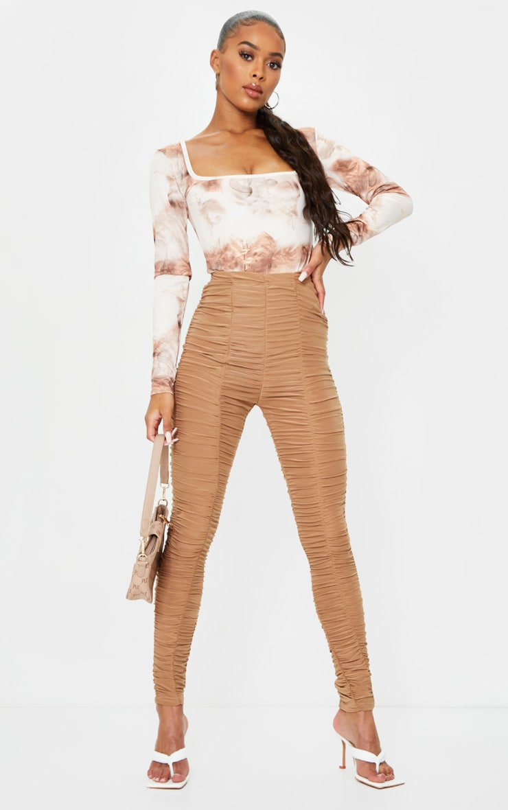 Nude Smoke Printed Soft Touch Square Neck Long Sleeve Bodysuit 3