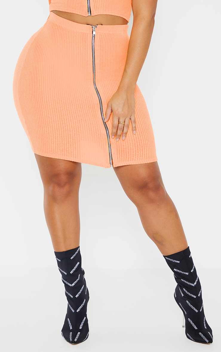 Shape Orange Soft Rib Zip Bodycon Skirt 2