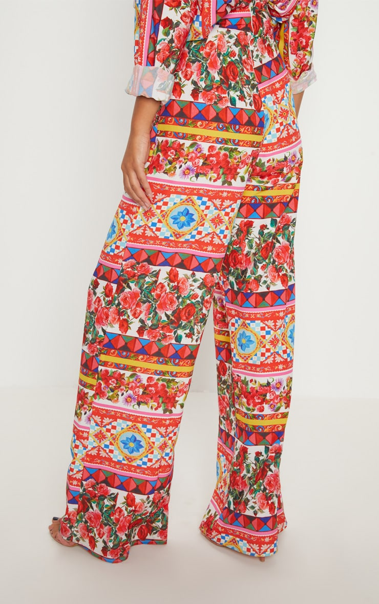 White Floral Print Wide Leg Trouser 4