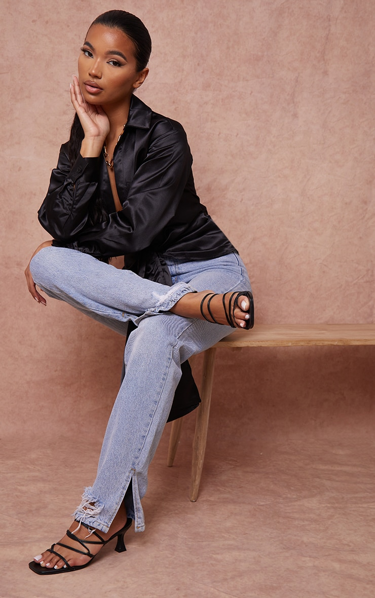 Black Low Flare Heel Strappy Mules 1