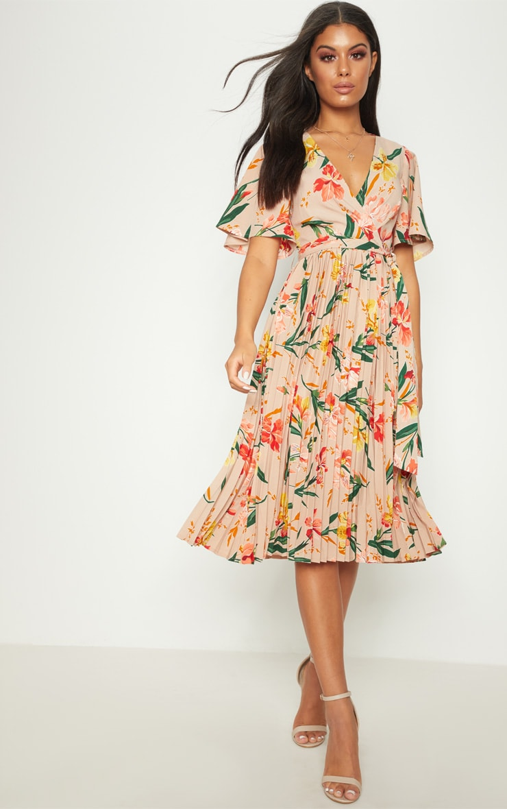 Pink Floral Pleated Midi Dress 3