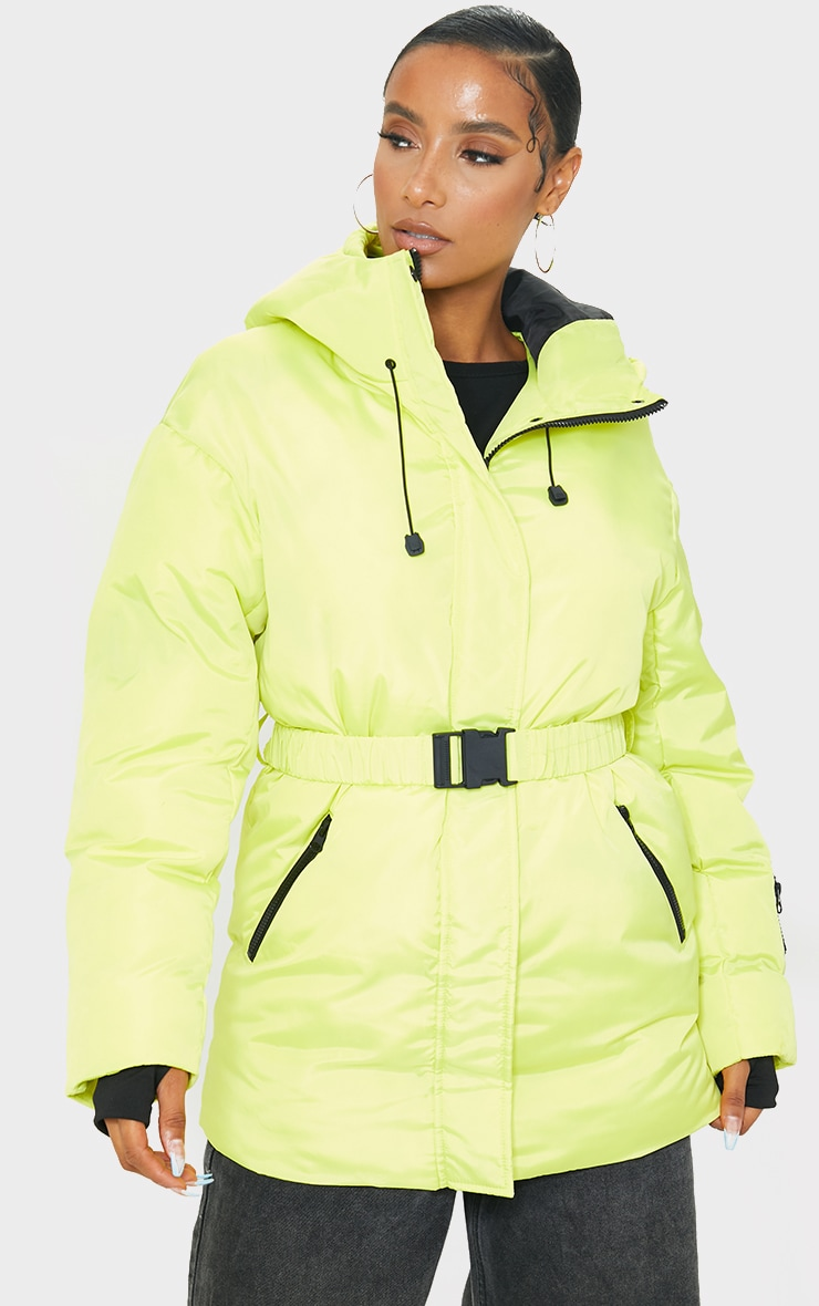 Yellow Quilted Belted Cuffed Sleeve Puffer Coat. 1