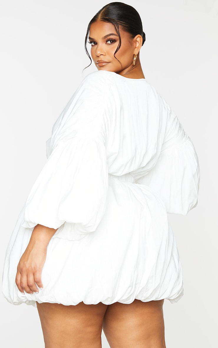 Plus White Puff Sleeve Puffball Hem Shift Dress 2