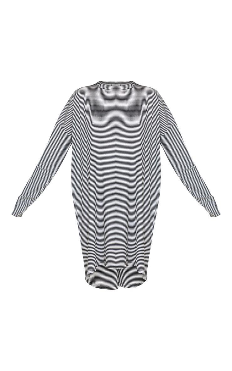 Black Stripe Long Sleeve Boyfriend T Shirt Dress 3