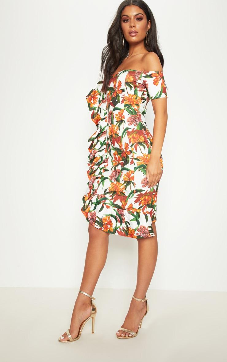 White Tropical Print Frill Detail Bardot Midi Dress 3