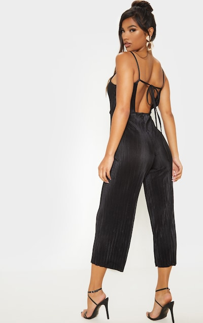 Lissy Black Pleated Strappy Tie Back Jumpsuit