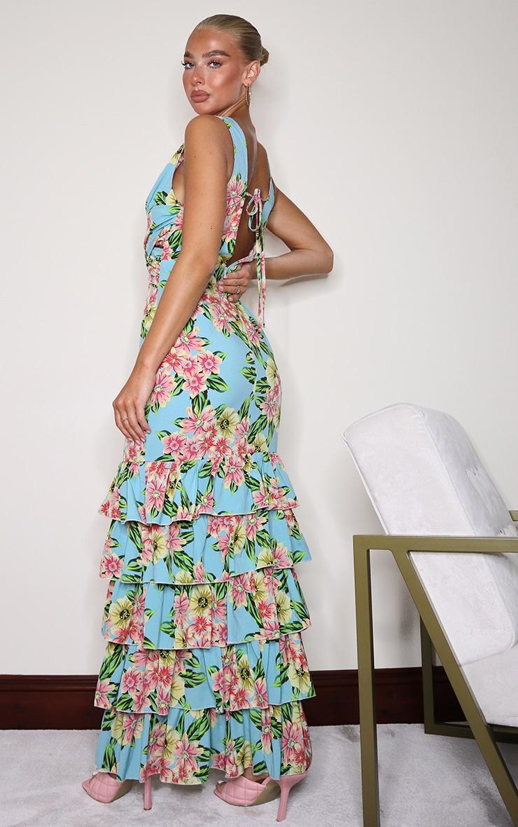 Blue Floral Plunge Ruffle Hem Maxi Dress 2