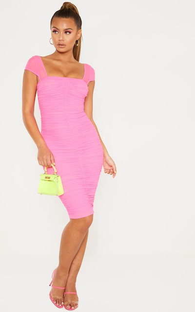 3d9a0bbb92 Hot Pink Mesh Ruched Midi Dress