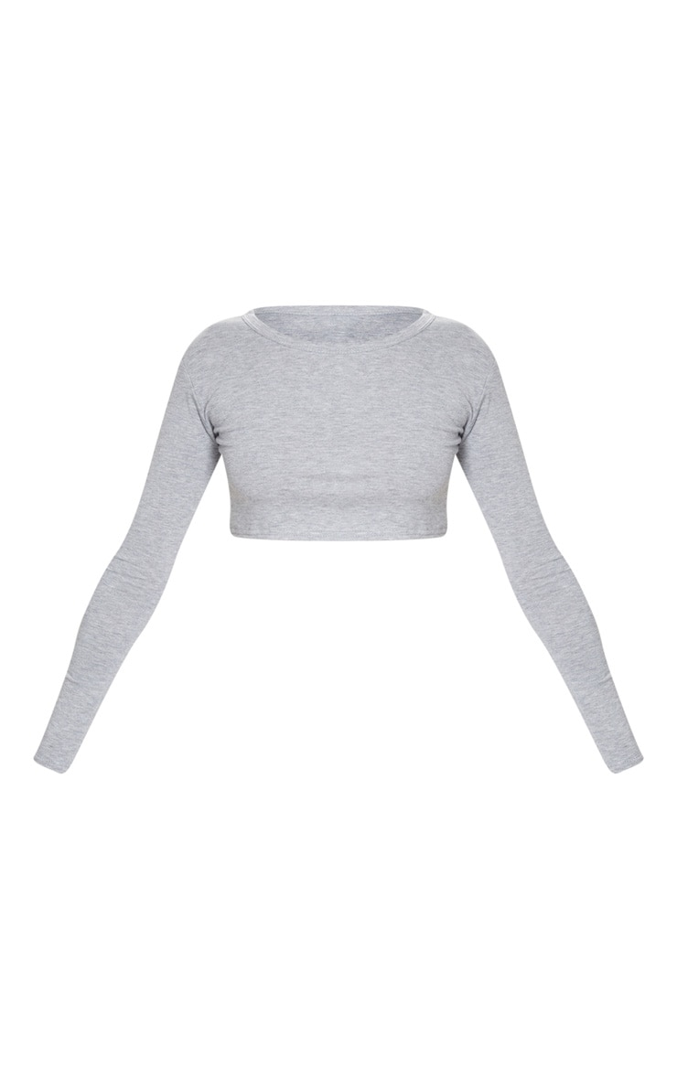 Crop top basique en jersey gris 3