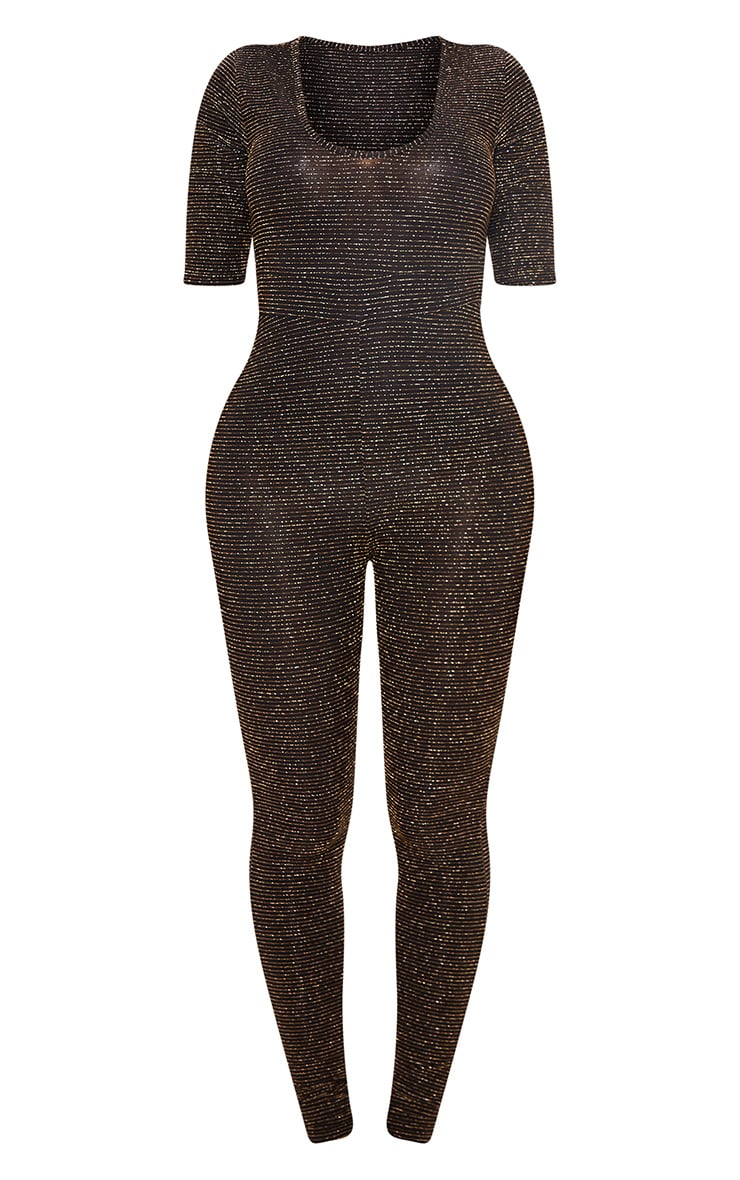 Shape Gold Stripe Glitter Plunge Unitard 3