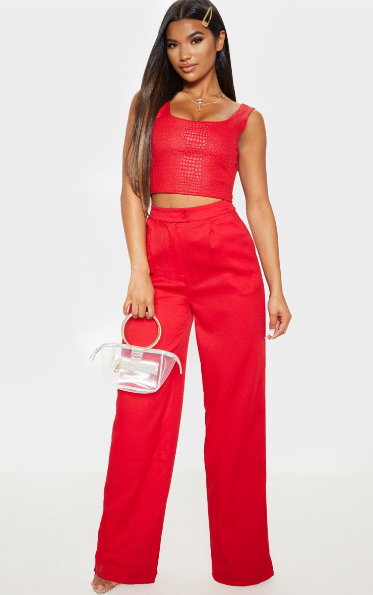 Red Crepe Textured Crop Top  4