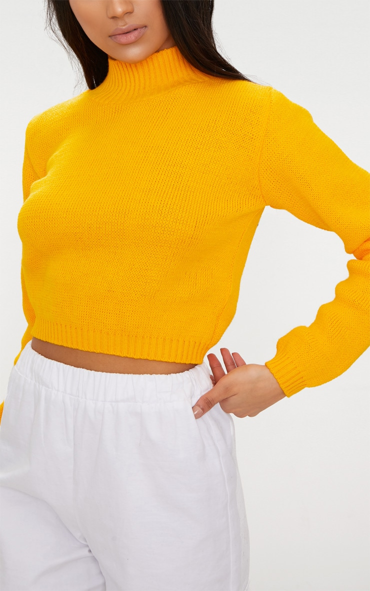 Bright Yellow High Neck Soft Cropped Jumper 5