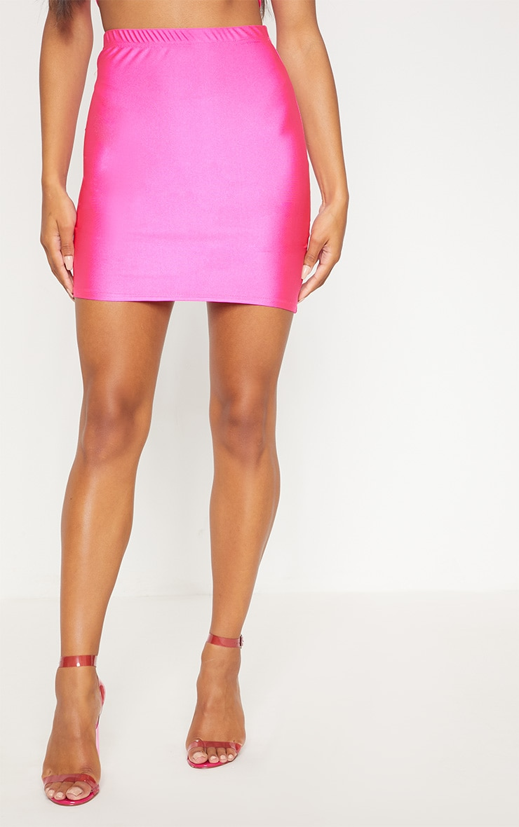 Mini-jupe disco rose fluo 2